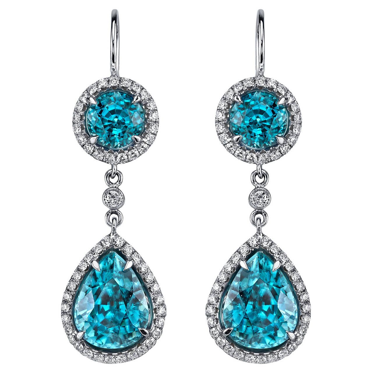 Zircon Diamond Gold Dangle Earrings,OFFERED BY  SIXTH AVENUE FINE JEWELERS