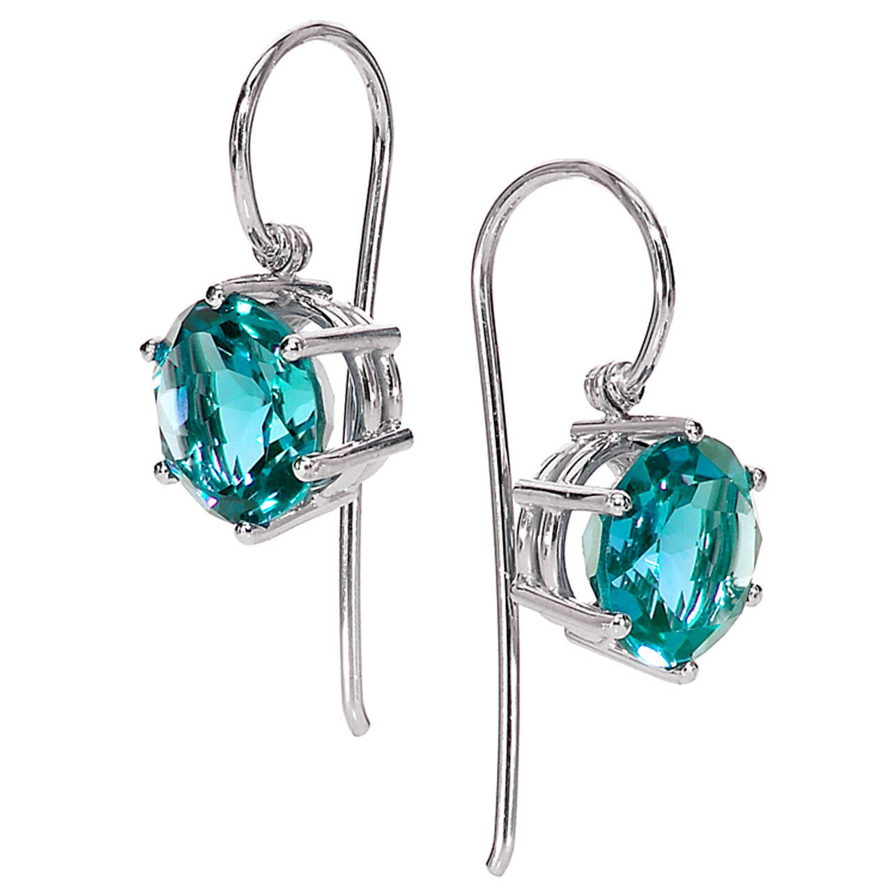 Matched Blue Zircon Gold Princess Dangle Earrings,OFFERED BY  SZOR COLLECTIONS