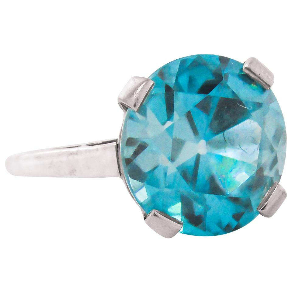 Retro 8 Carat Intense Blue Zircon Platinum Ring, Offered By  Rive Gauche Jewelry
