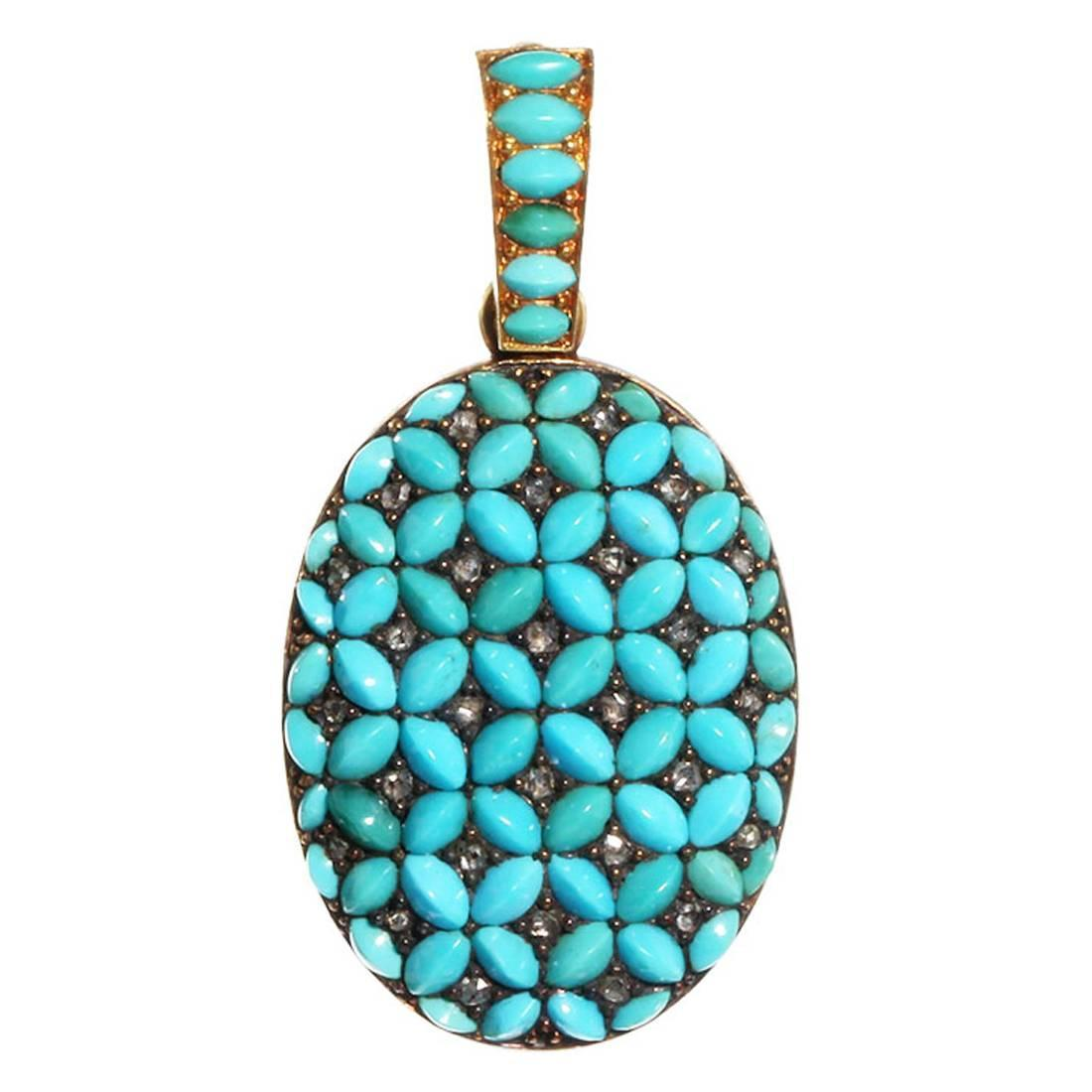 French Turquoise Diamond Gold Locket,OFFERED BY  BELL AND BIRD