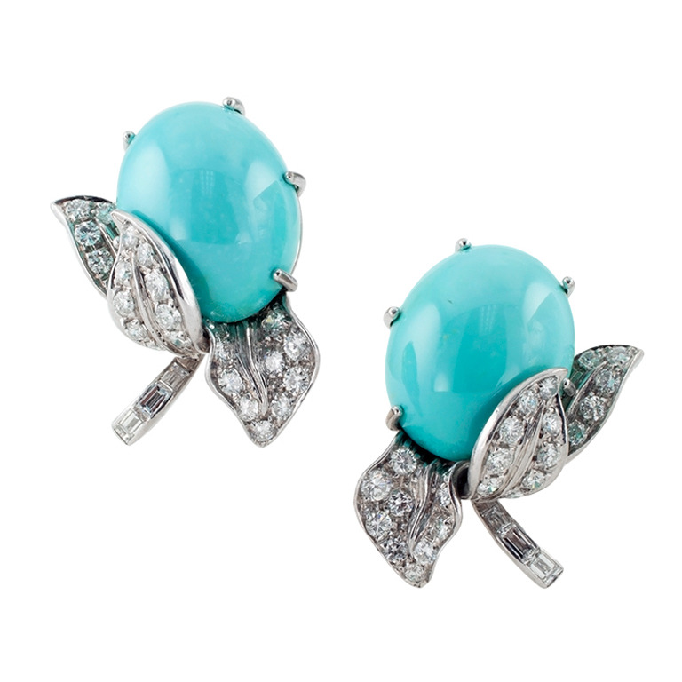 Turquoise Diamond gold Ear Clips,OFFERED BY  JACOB'S DIAMOND & ESTATE JEWELRY