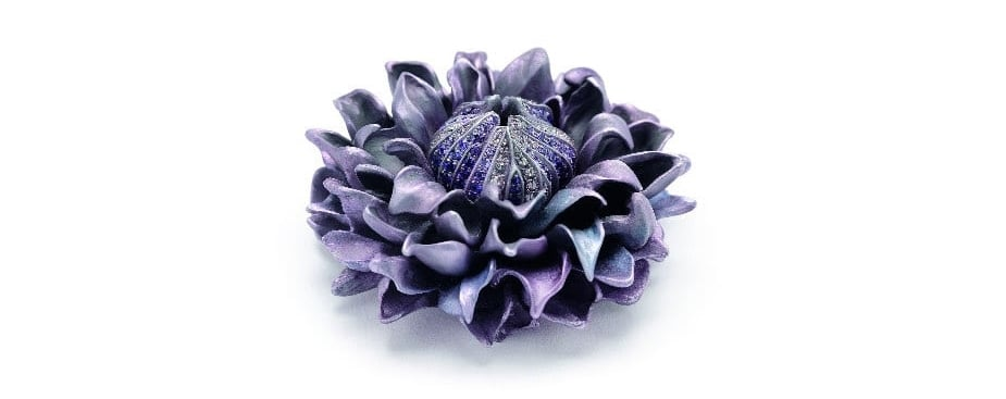 Hemmerle ´Clematis´ Brooch, sapphires, diamonds, aluminium, white gold. Image Courtesy of Hemmerle