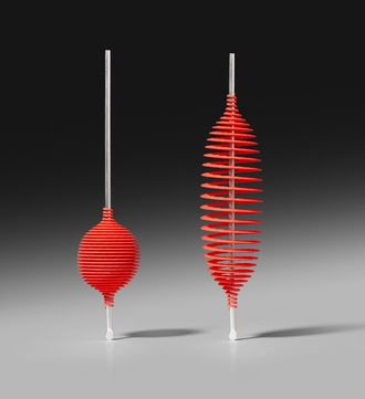 Ron Arad, Hot Ingo, 2016, Earrings, silver & red laser sintered polyamide, edition of 100