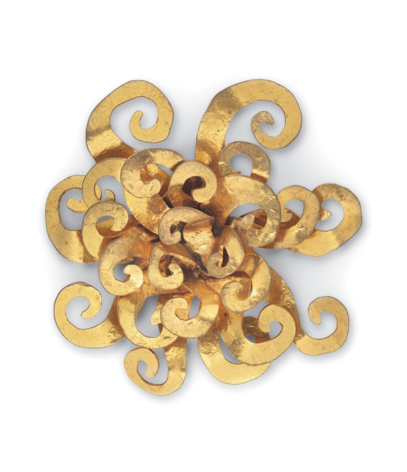 """Because I am by nature a worried optimist (as opposed to a contented pessimist), I found many opportunities to wear my brooch of a brilliantly shining sun,"" Albright wrote. This ""Sunburst,"" of gilded brass, was made in 1987 by Hervé van der Straeten of France."
