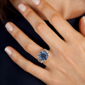BLUE DIAMOND RING On a Model's hand