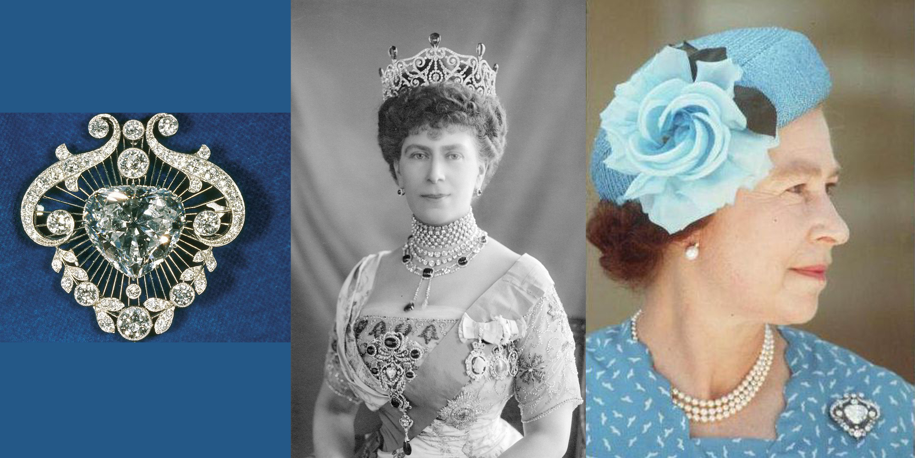 Left to Right: Cullinan V in the brooch setting, Queen Mary in the Dehli Dubar Parurue, Queen Elizabeth II wearing the Cullinan V brooch.