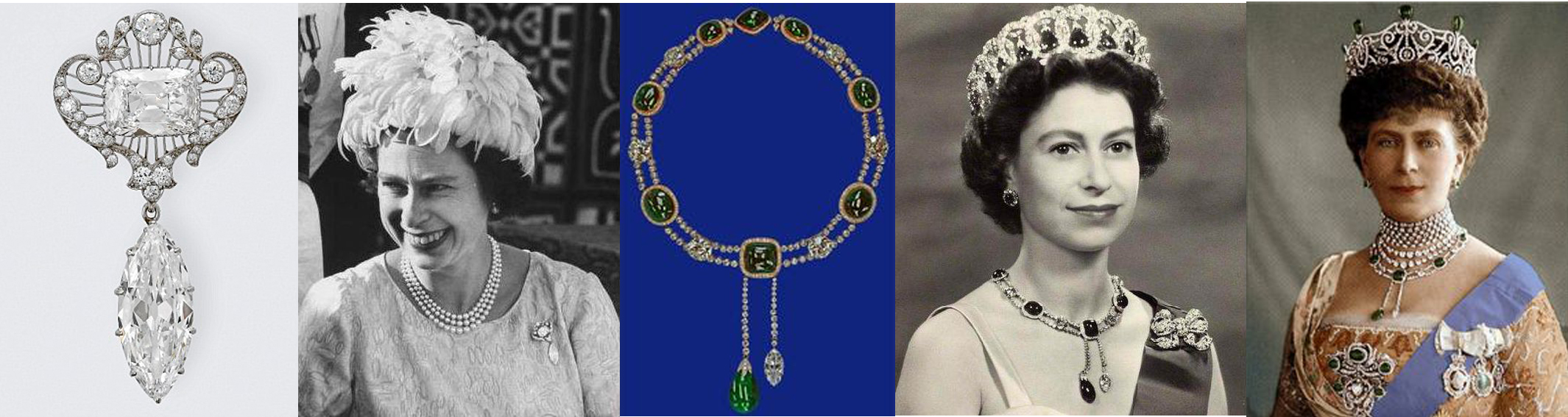 Left to Right:  Cullinan VI and VIII together as a brooch, Queen Elizabeth II wearing VI and VIII, Cullinan VII as a pendant in the Dehli Dubar (diamond and emerald) necklace, QEII in the Dehli Dubar Parure, Queen Mary in the Dehli Dubar Parure