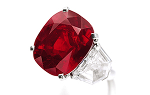 """""""Sunrise Ruby,"""" untreated pigeon's blood red-colored sold by Sotheby's"""