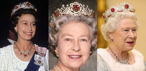 The Burmese Ruby Tiara worn by Queen Elizabeth