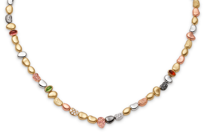 SINGLE PEBBLE NECKLACE (SUMMER VERSION) A warm-toned strand of textured, diamond-encrusted and gemstone-set gold evokes pebbles awash on the seashore.