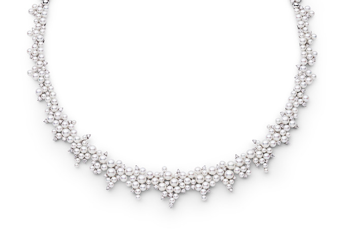 CASCADING LAGRANGE PEARL & DIAMOND NECKLACE Inspired by Joseph-Louis Lagrange, an Italian Enlightenment Era mathematician and astronomer, who developed the mathematical equations used in pave diamond settings as well as the asymmetrical stone settings in this collection.