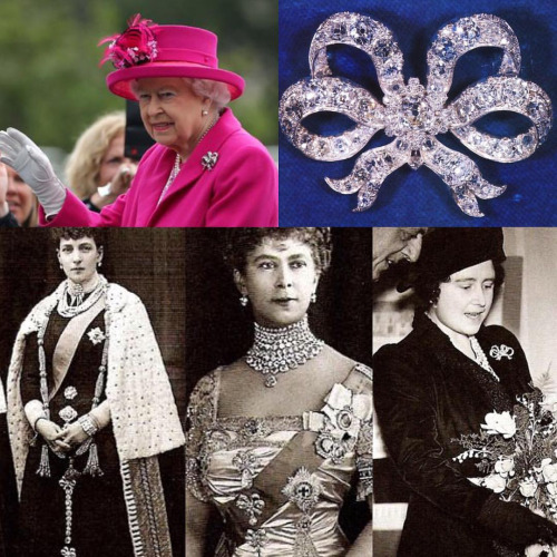 Queen Elizabeth II at her 90th birthday celebration, one of Queen Victoria's bow brooches, Queen Alexander with bows down her skirt, Queen Mary with bows as a makeshift stomacher, The Queen Mother with a single bow