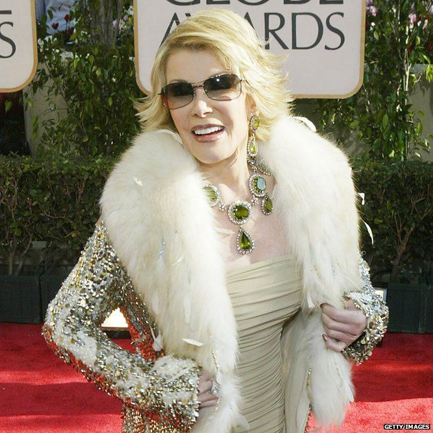 Joan Rivers, wearing the necklace and earrings at the 2004 Golden Globes