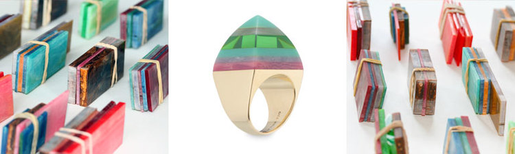 """Sugarloaf"" ring of laminated, hand-carved, vintage bakelite ""scraps"" mounted in 18 karat gold."