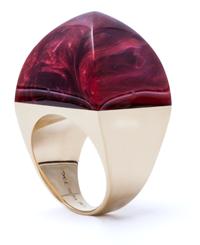 """Hand-carved vintage bakelite """"sugarloaf"""" ring mounted in 18 karat gold."""