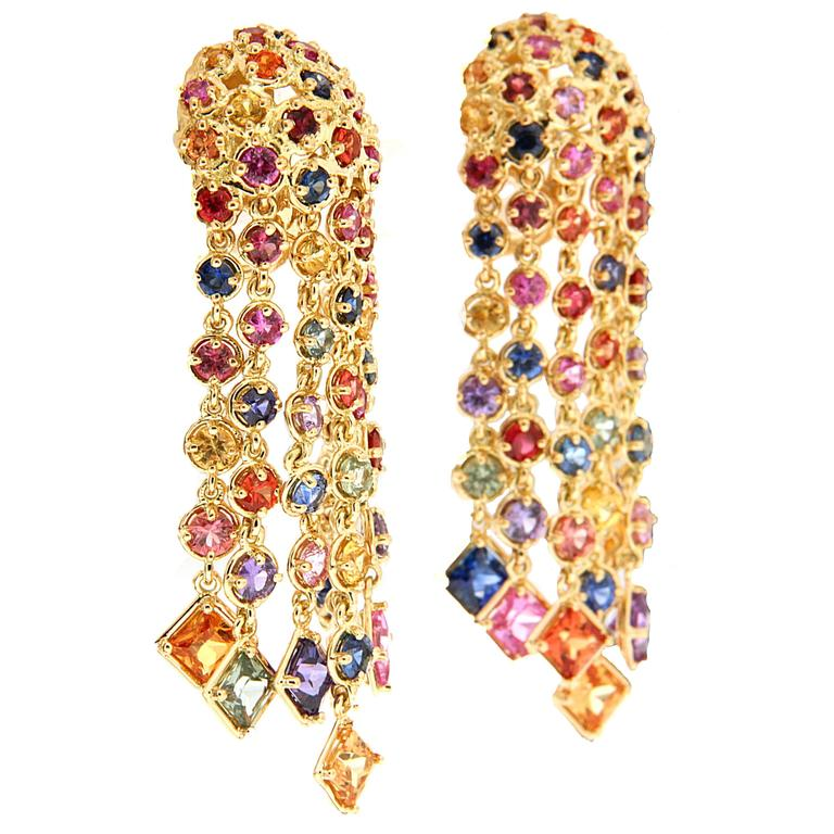 Sapphires are a color variety of corundum, a crystalline form of aluminium oxide. Corundum is one of the hardest minerals, rating 9 on the Mohs scale. Corundum gems of most colors are called sapphires, except for red which is called Ruby. Multi-color sapphire earrings in 18kt yellow gold. Available from  Valentin Magro