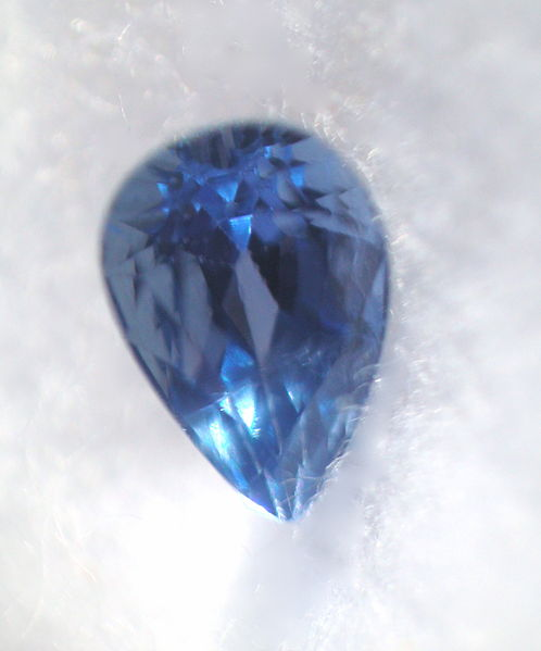 0.43 carat, cornflower blue Yogo sapphire from Yogo Gulch, Montana. Photo by Pumpkinsky