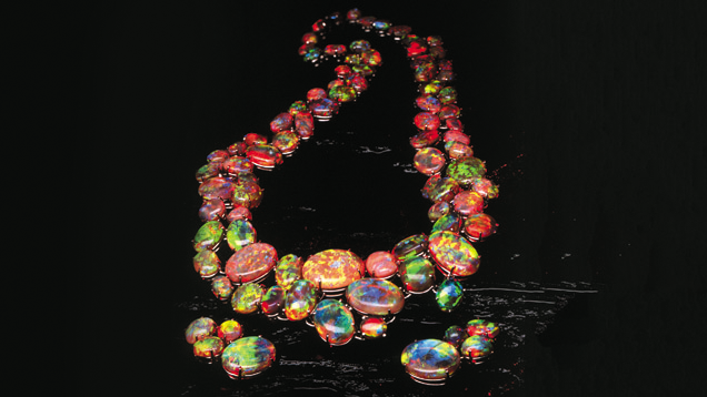 """The Path of Enlightenment"" necklace contains 180 magnificent opals from Lightning Ridge, Australia, a famous opal producing area. - Courtesy Cody Opal"