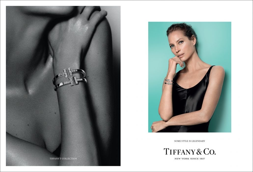 Christy Turlington in Tiffany T Bracelet and Soltiaire Earrings
