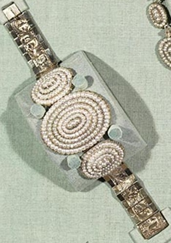 One of the seed pearl bracelets