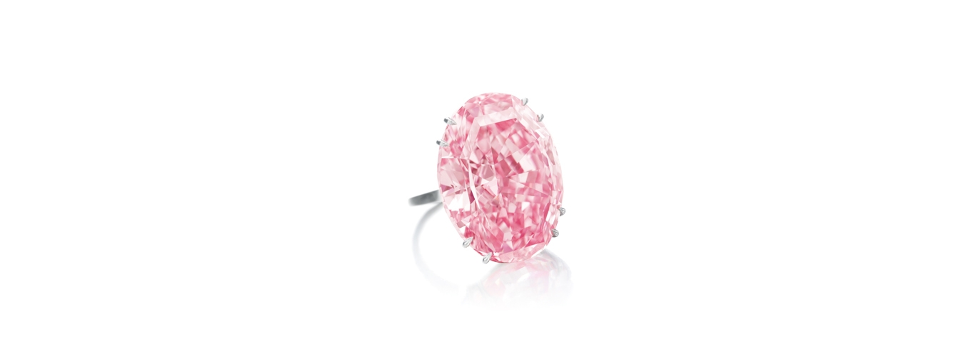 The Pink Star: 59.6 carat pink diamond. Photo from Sotheby's auction house.