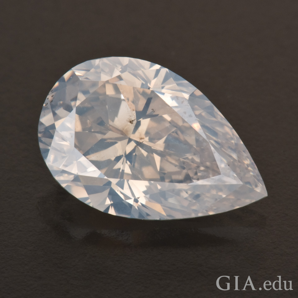 2.11 carat pear shape Fancy white diamond from the Aurora Butterfly of Peace. Photo: Robert Weldon/GIA