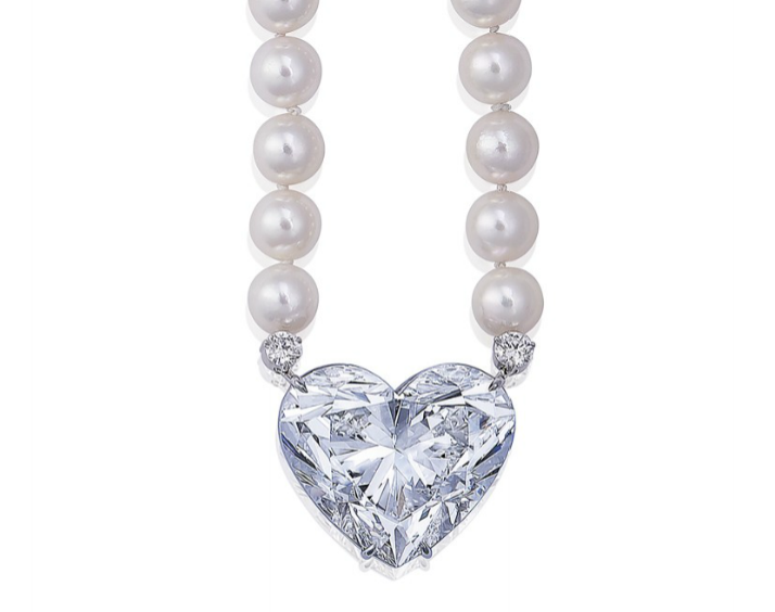 LA LÉGENDE A diamond and cultured pearl sautoir necklace by Boehmer et Bassage Set with a heart-shaped diamond, weighing approximately 92.15 carats.