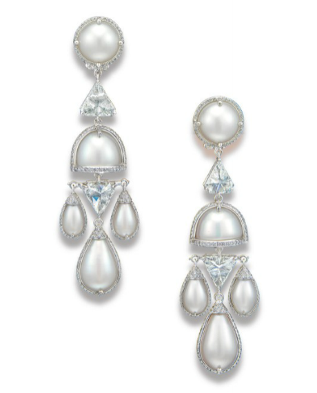 A unique pair of natural pearl and diamond ear pendants by Etcetera for Paspaley.