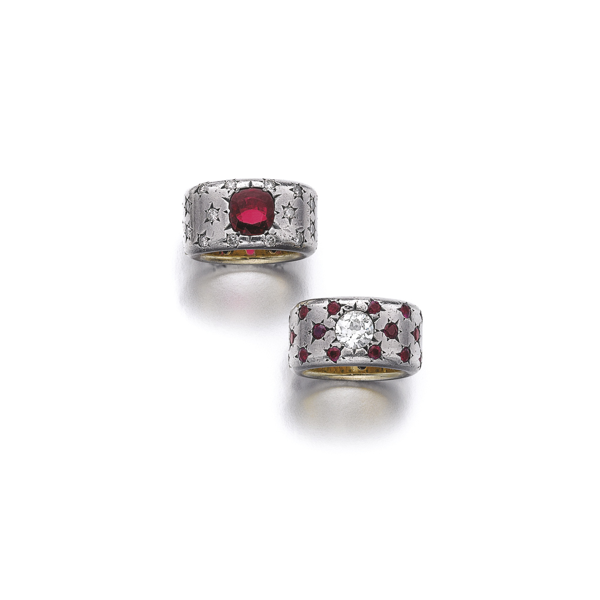 Two ruby and diamond rings by JAR