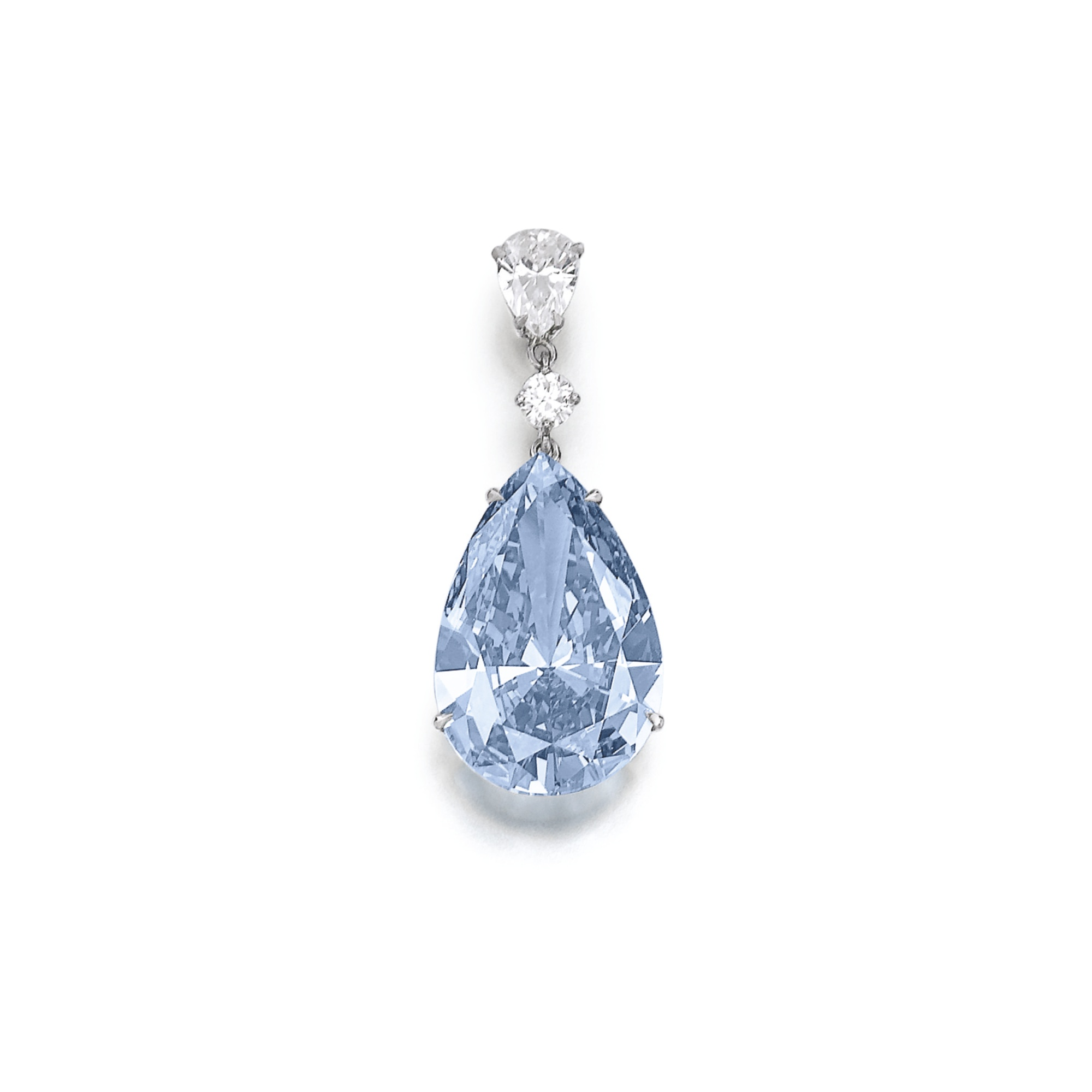 Superb and extremely rare fancy vivid blue diamond.  The pear-shaped fancy vivid blue diamond of truly and outstanding color and purity weighing 14.54 carats, mounted as an earring with a pear-shaped and a brilliant-cut diamond, post fitting. Accompanied by GIA certification.