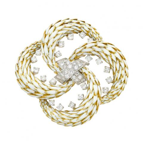 Platinum, Gold, White Enamel and Diamond Clip-Brooch, David Webb