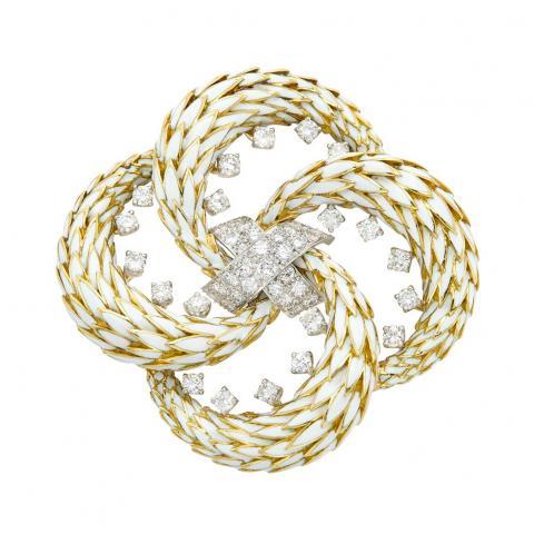 Platinum, Gold, White Enamel and Diamond Clip-Brooch, David Webb