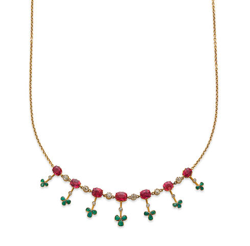A pink tourmaline, emerald and diamond necklace, circa 1900