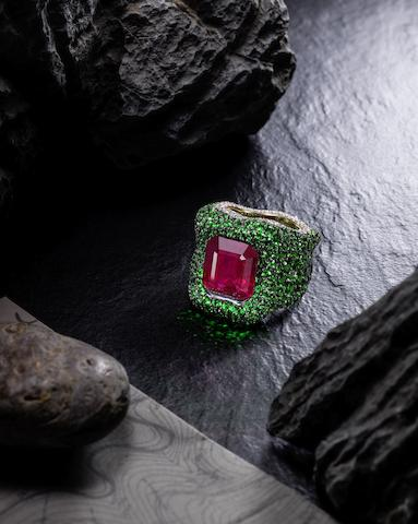 An Exceptional Ruby, Tsavorite Garnet and Diamond Ring, by Ferri
