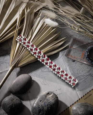 An Important Natural Ruby and Diamond Bracelet