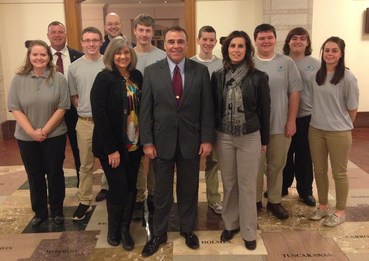Pictured with Representative Schuring are:    Barb Cockroft, State Support Team Region 9; Todd Boggs, Superintendent; Becky Miller, Curriculum Director; Lisa Gothard & Jason Hall, teachers; Joe Conrad, Anthony Hammen, Matthew Gothard, Carter McClaskey, Logan McGee, and Amelia Pennell, students