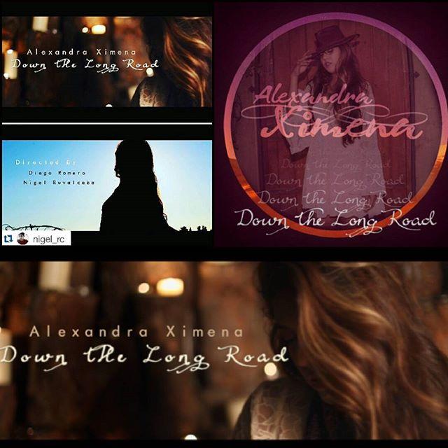 "Hiya! New music video for my new single ""Down the Long Road""  Youtube.com/AlexandraXimena  #checkitout #AlexandraXimena #newsingle #DownTheLongRoad #outnow @studiosoriano @biggstrange @nigel_rc @alexandraximenaofficial"