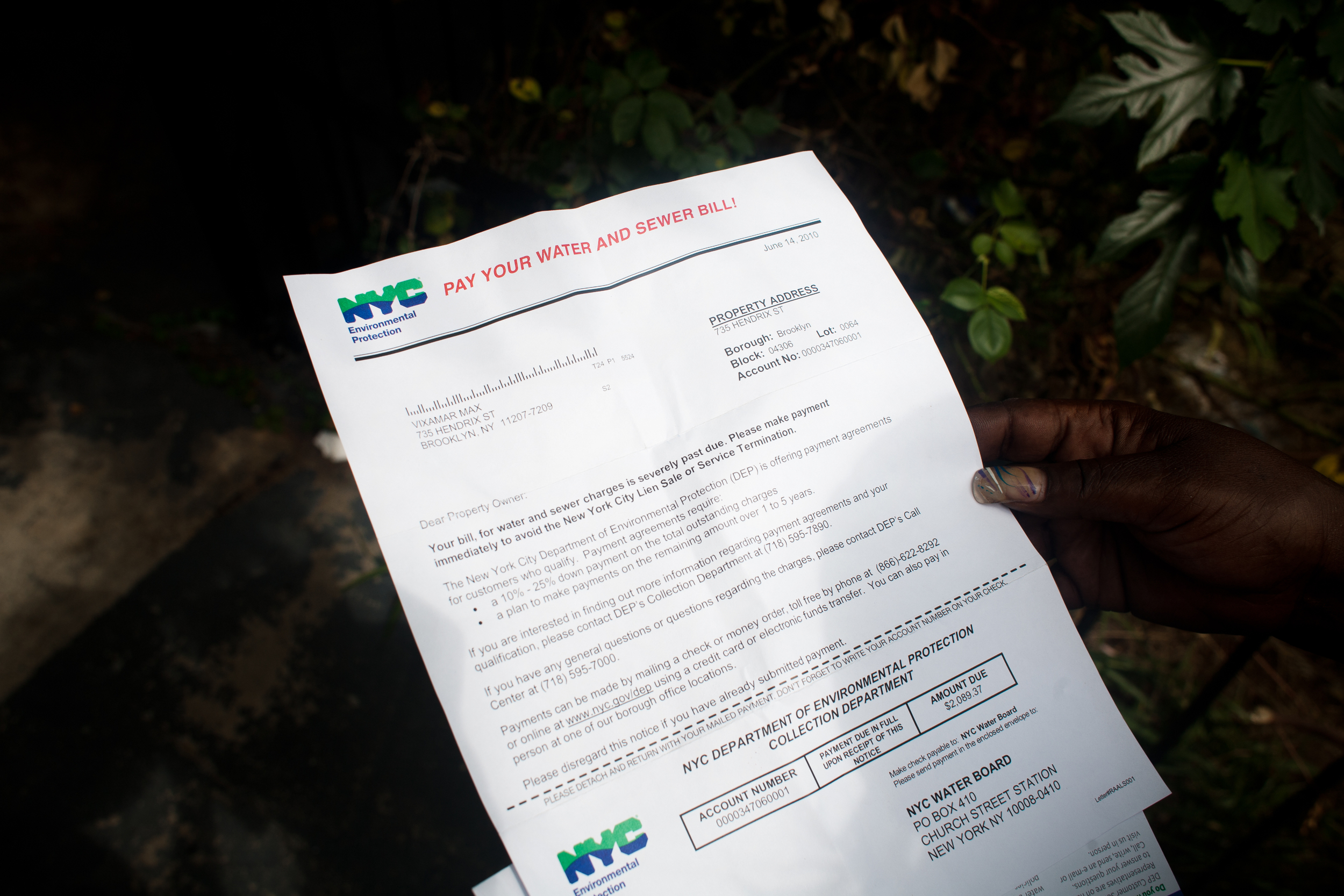 April receives a letter stating her landlord has a severely overdue water and sewage bill, 2010.