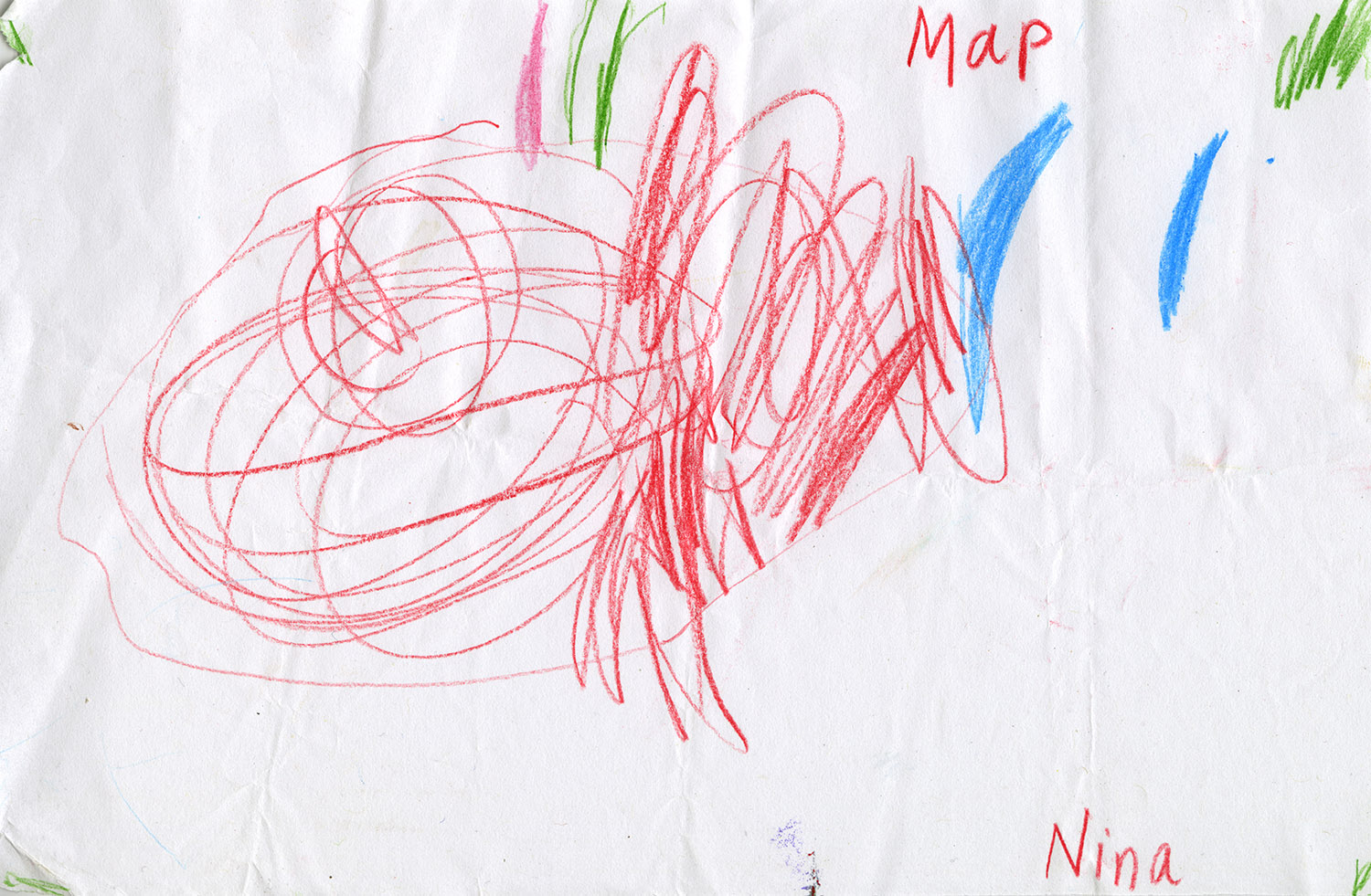 Preschooler's map, found by Jac Nelson , Nina, Portland, OR (2015)