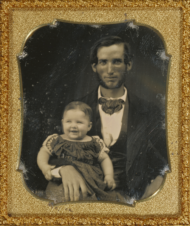 """Рис.21 """"Портрет отца с улыбающимся ребенком"""" (автор неизвестен), приблизительно 1855 г."""
