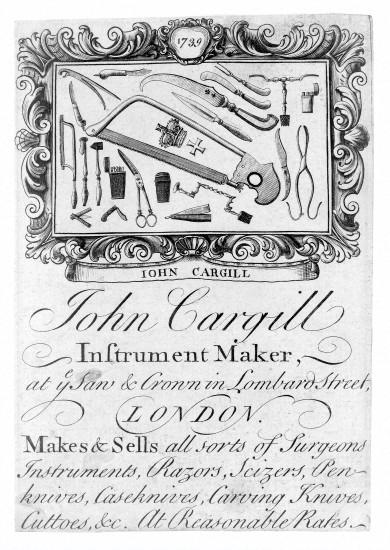 Рис.6 Реклама Джона Каргила, производителя инструмента, 1739