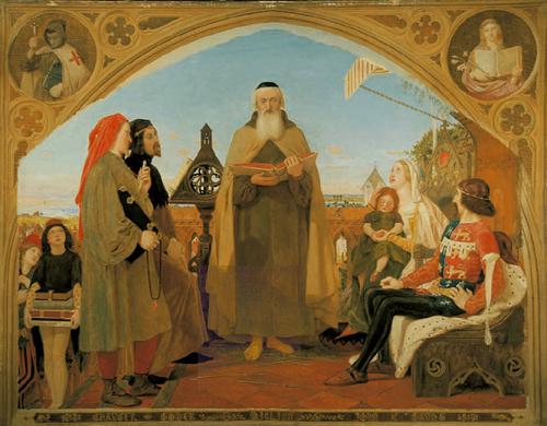 """Рис.7 Форд Мэдокс Браун (1821-93)""""Первый перевод Библии на английский язык""""1847-48"""