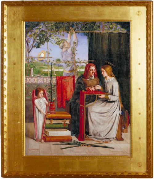 """Рис.11 Данте Габриэль Россетти (1828-82)""""Юность Девы Марии""""1848-49, переоформлена в 1864 году."""