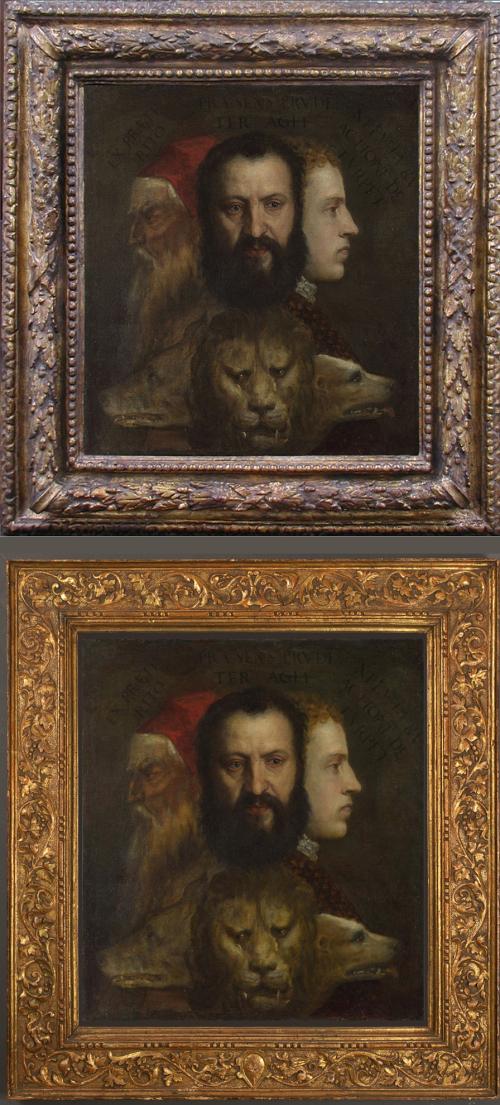 """Рис.9 Тициан (приблизительно 1490-1576), """"Аллегории благоразумия"""", приблизительно.1550-65, o/c, 75.5 x 68.4 cm; до (верхняя фотография) и после"""