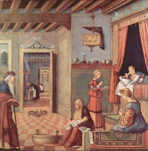 """Рис.15 Витторе Карпаччо (приблизительно 1465-1525/26), """" Рождение Богородицы"""",  приблизительно 1502-04"""
