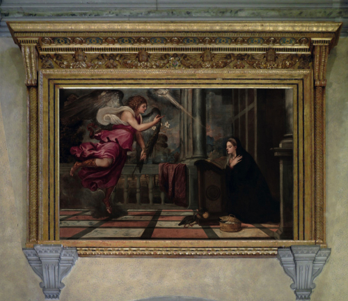 """Рис.20 Тициан ( приблизительно 1490-1576), """"Благовещение"""", 1535"""