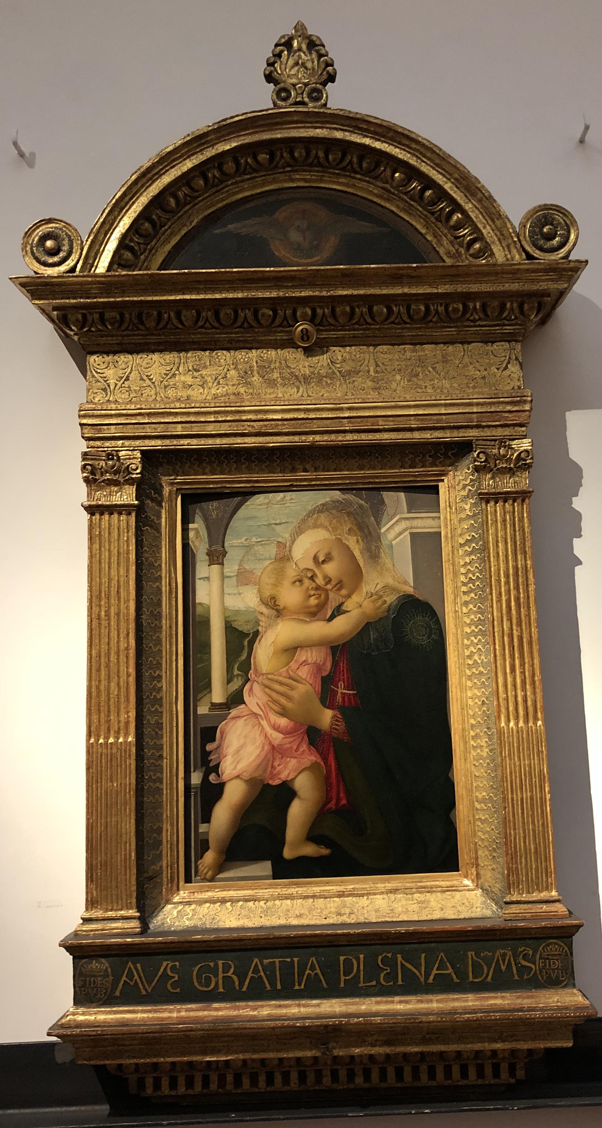 """Рис.1 Сандро Боттичелли """"Мадонна с младенцем"""", приблизительно 1467 г."""
