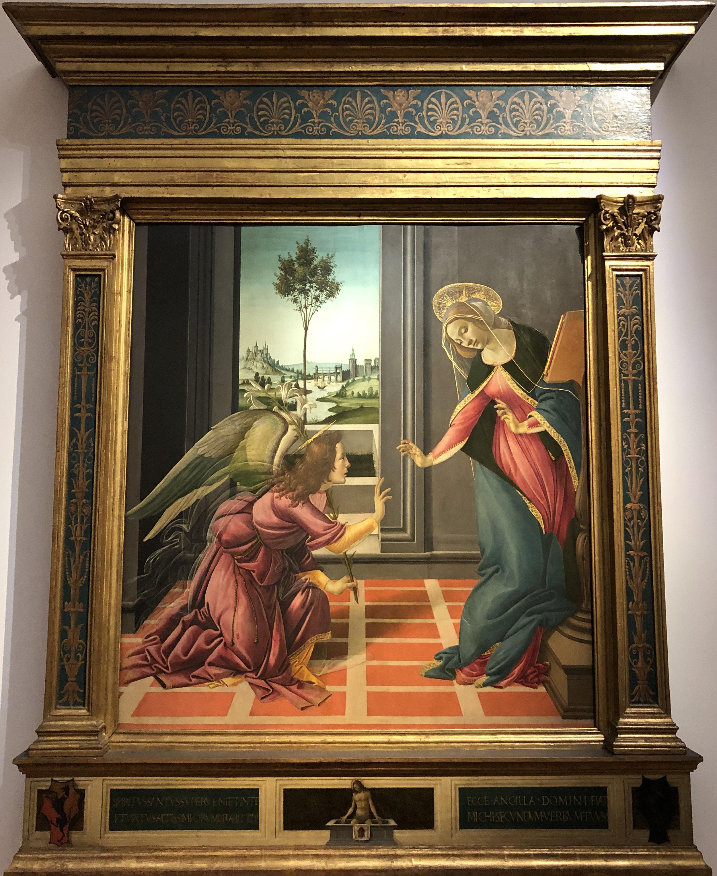 """Рис.2 Сандро Боттичелли """"Благовещение; Иисус - Муж скорбей (на пределле)"""", приблизительно 1489-90 гг."""