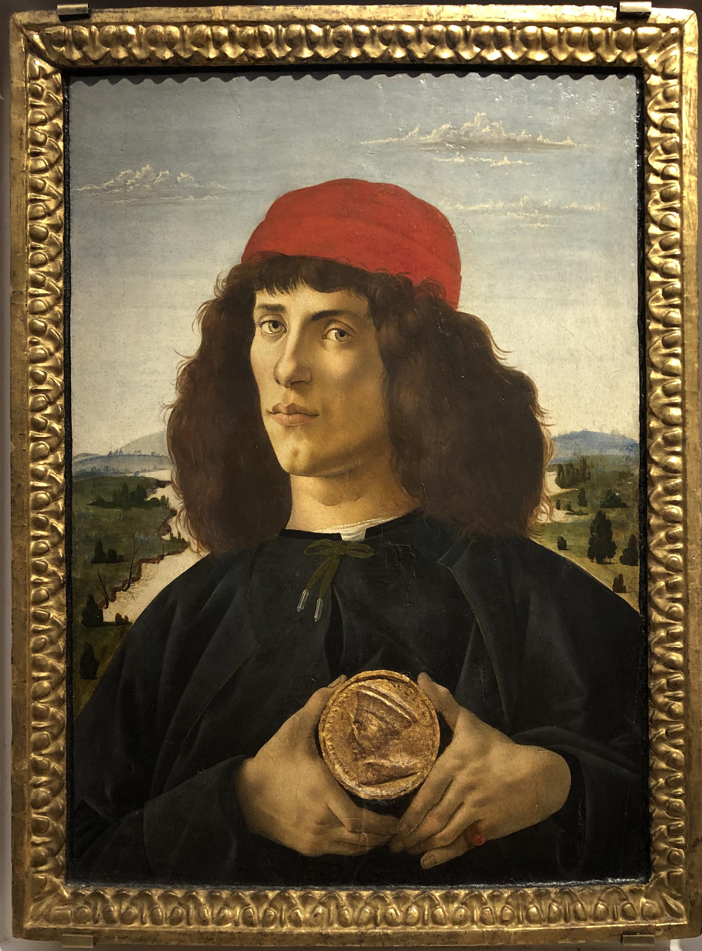 """Рис.7 Сандро Боттичелли """"Портрет юноши с медальоном"""", приблизительно 1475 г."""