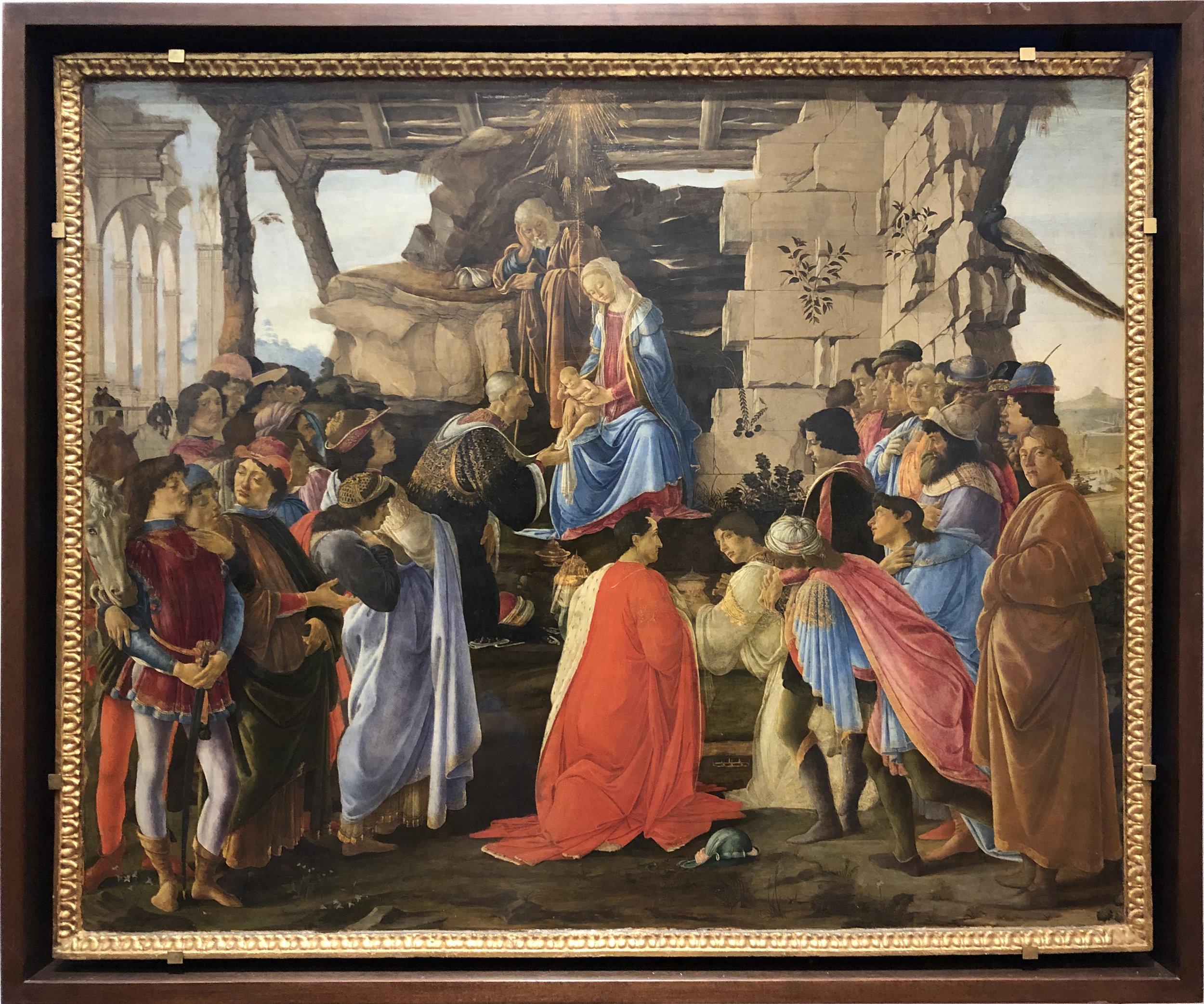 """Рис.12 Сандро Боттичелли """"Поклонение волхвов"""", приблизительно 1475 г."""